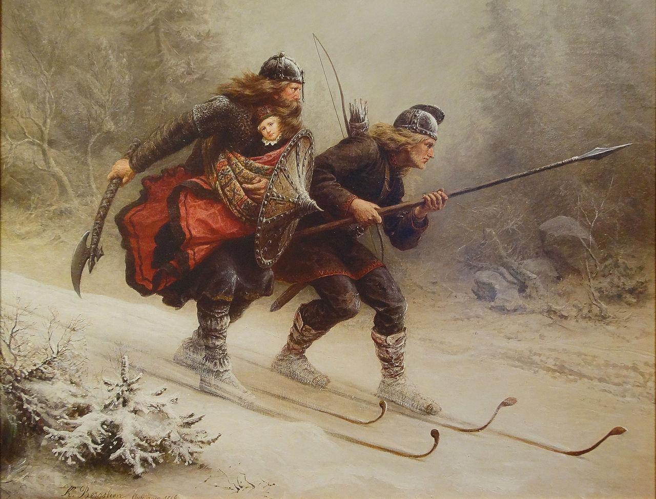Knud Bergslien - Birkebeinerne på Ski over Fjeldet med Kongsbarnet. The Ski Museum. Holmenkollen, Oslo, Norway.